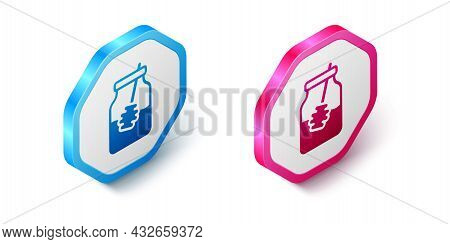 Isometric Jar Of Honey And Honey Dipper Stick Icon Isolated On White Background. Food Bank. Sweet Na