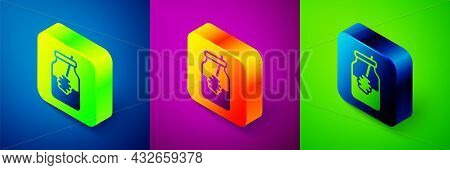 Isometric Jar Of Honey And Honey Dipper Stick Icon Isolated On Blue, Purple And Green Background. Fo