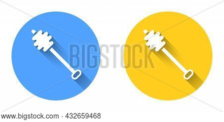 White Honey Dipper Stick Icon Isolated With Long Shadow Background. Honey Ladle. Circle Button. Vect