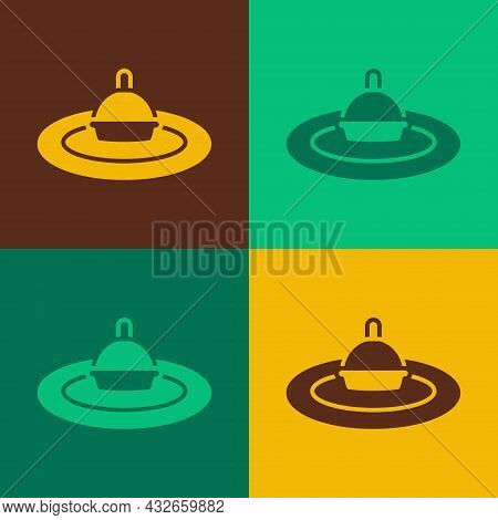 Pop Art Fishing Float In Water Icon Isolated On Color Background. Fishing Tackle. Vector