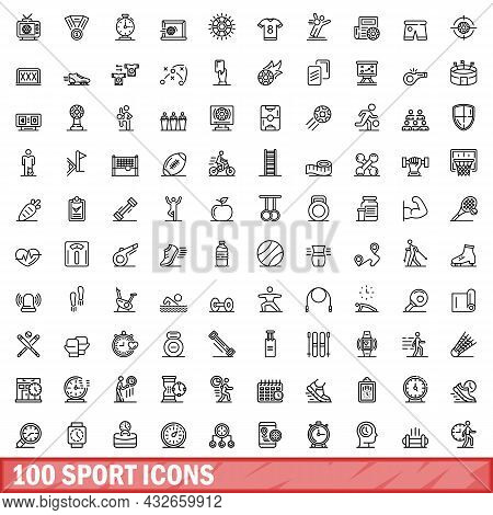 100 Sport Icons Set. Outline Illustration Of 100 Sport Icons Vector Set Isolated On White Background