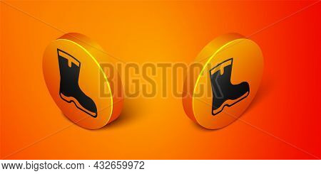 Isometric Fishing Boots Icon Isolated On Orange Background. Waterproof Rubber Boot. Gumboots For Rai