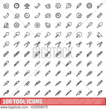 100 Tool Icons Set. Outline Illustration Of 100 Tool Icons Vector Set Isolated On White Background