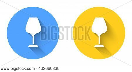 White Wine Glass Icon Isolated With Long Shadow Background. Wineglass Sign. Circle Button. Vector