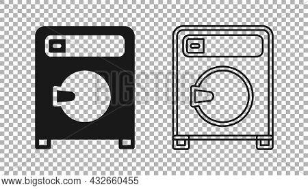 Black Washer Icon Isolated On Transparent Background. Washing Machine Icon. Clothes Washer - Laundry