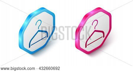 Isometric Hanger Wardrobe Icon Isolated On White Background. Cloakroom Icon. Clothes Service Symbol.