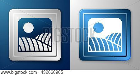 White Agriculture Wheat Field Farm Rural Nature Scene Landscape Icon Isolated On Blue And Grey Backg