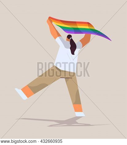 Woman Holding Lgbt Rainbow Flag Gay Lesbian Love Parade Pride Festival Transgender Love Concept