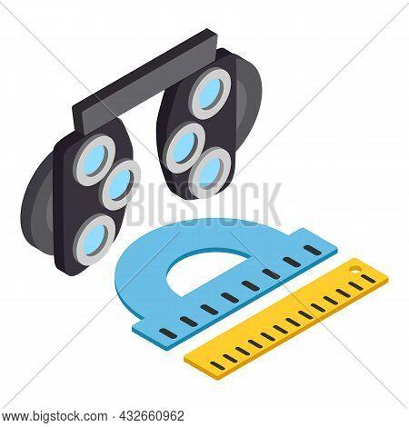 Eye Examination Icon Isometric Vector. Optical Phoropter And Measuring Tool Icon. Modern Optometrist