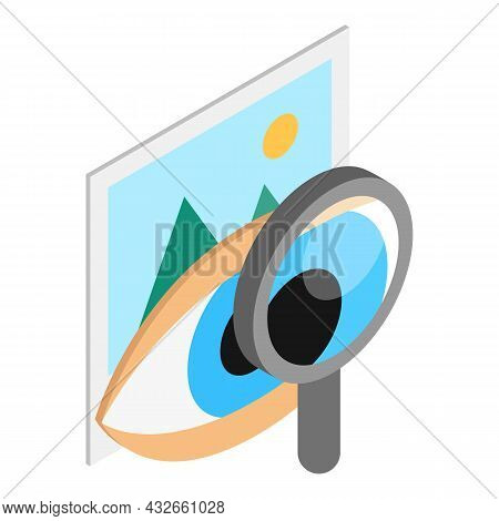 Eye Diagnostic Icon Isometric Vector. Open Human Eye, Magnifier And Picture Icon. Vision Test, Ophth
