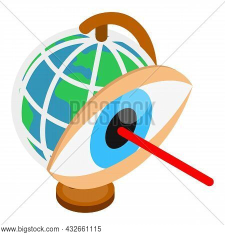 Laser Surgery Icon Isometric Vector. Globe Earth And Laser Beam In Human Eye. Correction For Vision,