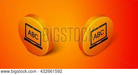 Isometric Laptop Icon Isolated On Orange Background. Computer Notebook With Empty Screen Sign. Orang