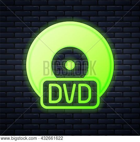 Glowing Neon Cd Or Dvd Disk Icon Isolated On Brick Wall Background. Compact Disc Sign. Vector