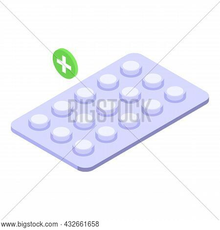 Pill Blister Icon Isometric Vector. Medicine Pack. Medical Capsule