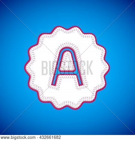 White Exam Sheet With A Plus Grade Icon Isolated On Blue Background. Test Paper, Exam, Or Survey Con