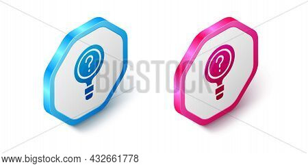 Isometric Unknown Search Icon Isolated On White Background. Magnifying Glass And Question Mark. Hexa