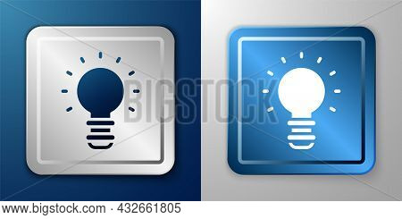 White Creative Lamp Light Idea Icon Isolated On Blue And Grey Background. Concept Ideas Inspiration,