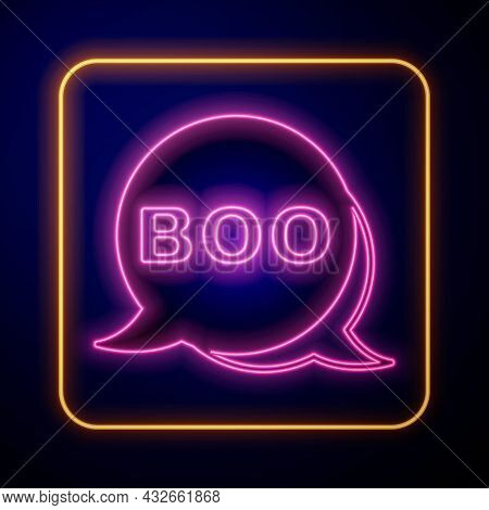 Glowing Neon Boo Speech Bubble Icon Isolated On Black Background. Happy Halloween Party. Vector