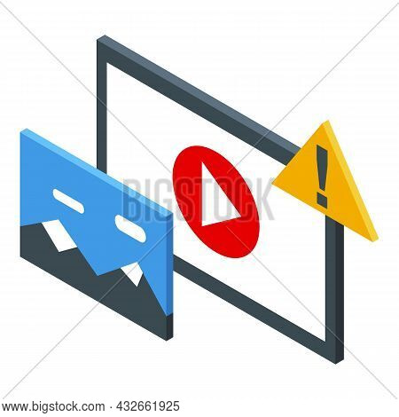 Anonymous Media Play Icon Isometric Vector. Unknown Question. Media Anonymity