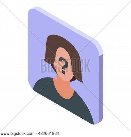 Anonymous Avatar Icon Isometric Vector. Person Mystery. User Face