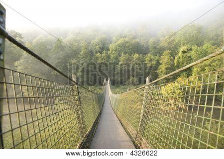 Hanging Foot Bridge Over River