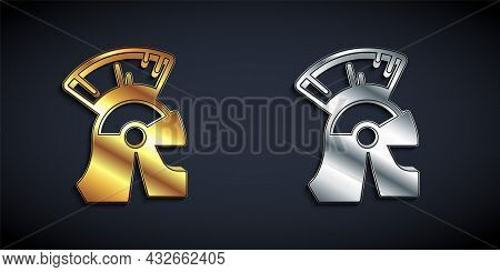 Gold And Silver Roman Army Helmet Icon Isolated On Black Background. Long Shadow Style. Vector