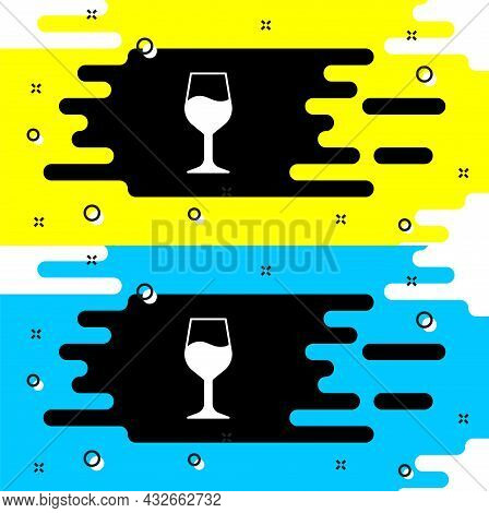 White Wine Glass Icon Isolated On Black Background. Wineglass Sign. Vector