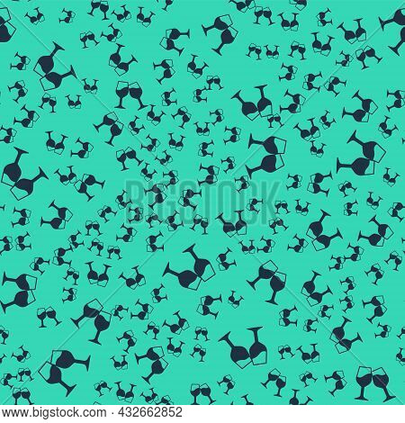 Black Wine Glass Icon Isolated Seamless Pattern On Green Background. Wineglass Sign. Vector