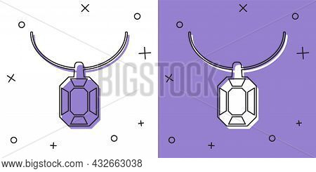 Set Pendant On Necklace Icon Isolated On White And Purple Background. Vector