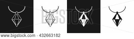 Set Pendant On Necklace Icon Isolated On Black And White Background. Vector