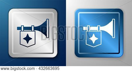 White Trumpet With Flag Icon Isolated On Blue And Grey Background. Musical Instrument Trumpet. Silve