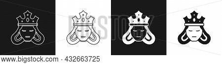 Set Princess Or Queen Wearing Her Crown Icon Isolated On Black And White Background. Medieval Lady.