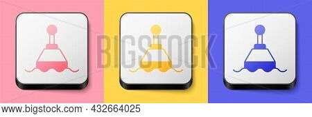 Isometric Floating Buoy On The Sea Icon Isolated On Pink, Yellow And Blue Background. Square Button.