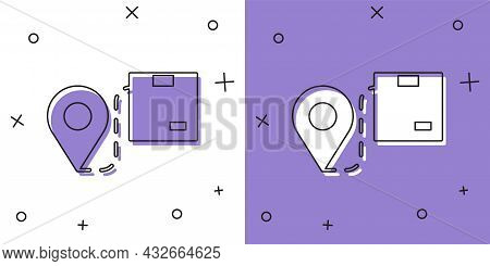 Set Location With Cardboard Box Icon Isolated On White And Purple Background. Delivery Services, Log