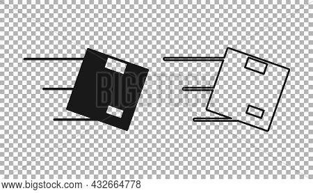 Black Location With Cardboard Box Icon Isolated On Transparent Background. Delivery Services, Logist