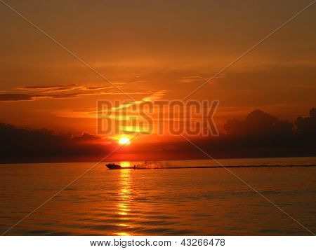 Water Skier in the Sunset