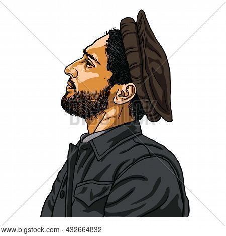 Ahmad Massoud The Leader Of The National Resistance Front Of Afghanistan Vector Cartoon Caricature D