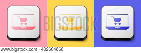 Isometric Shopping Cart On Screen Laptop Icon Isolated On Pink, Yellow And Blue Background. Concept