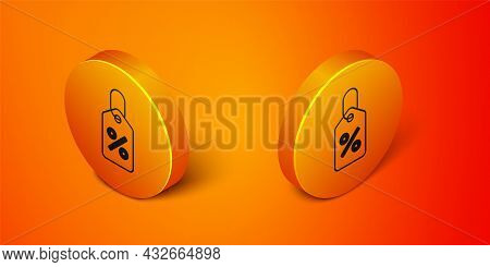 Isometric Discount Percent Tag Icon Isolated On Orange Background. Shopping Tag Sign. Special Offer
