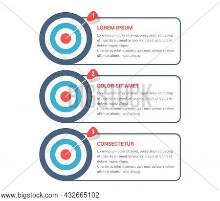 3 Steps To Your Goal Concept, Infographic Template With 3 Targets, Vector Eps10 Illustration