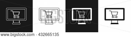 Set Shopping Cart On Monitor Icon Isolated On Black And White Background. Concept E-commerce, E-busi