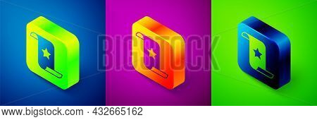 Isometric Paper Check And Financial Check Icon Isolated On Blue, Purple And Green Background. Paper