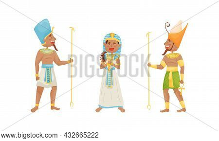 Egyptian God And Deities Wearing Antique Clothing And Holding Rod Vector Set