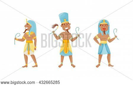 Egyptian God And Deities Wearing Antique Clothing And Holding Crook Vector Set