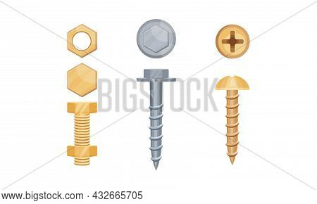 Metal Fastener And Nail As Small Object And Hardware Device Used For Joining Vector Set