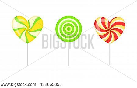 Twisted And Swirling Lollipop On Stick As Sugar Candy For Sucking Or Licking Vector Set