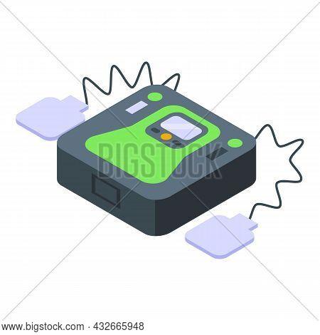 Defibrillator Icon Isometric Vector. Heart Aed. Cardiac Cpr