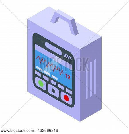 Pacemaker Device Icon Isometric Vector. Heart Defibrillator. Cardiac Aed