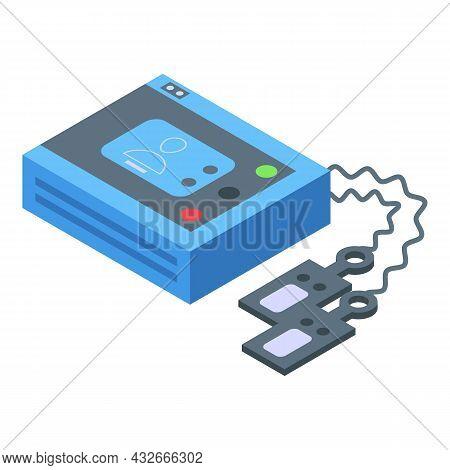 Portable Defibrillator Icon Isometric Vector. Cardiac Heart, Emergency Aed