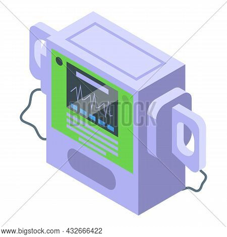 Hospital Defibrillator Icon Isometric Vector. Cardiac Cpr. Icd Emergency